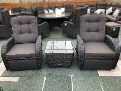 Rocking & Reclining Rattan Bistro Set in Stone Grey