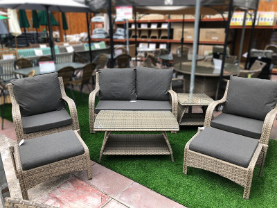 Lightweight Aluminium Rattan Sofa Set in Cappuccino
