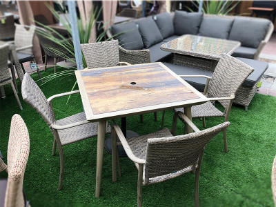 4 Seater Square Rattan Dining Set with Copa Wood Table