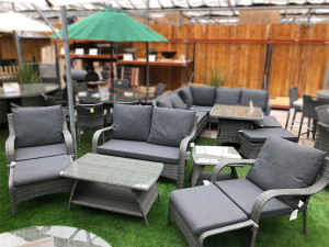 Lightweight Aluminium Rattan Sofa Set in Stone Grey