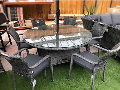 Stacking Round Rattan Dining Set in Stone Grey (6 Seater)
