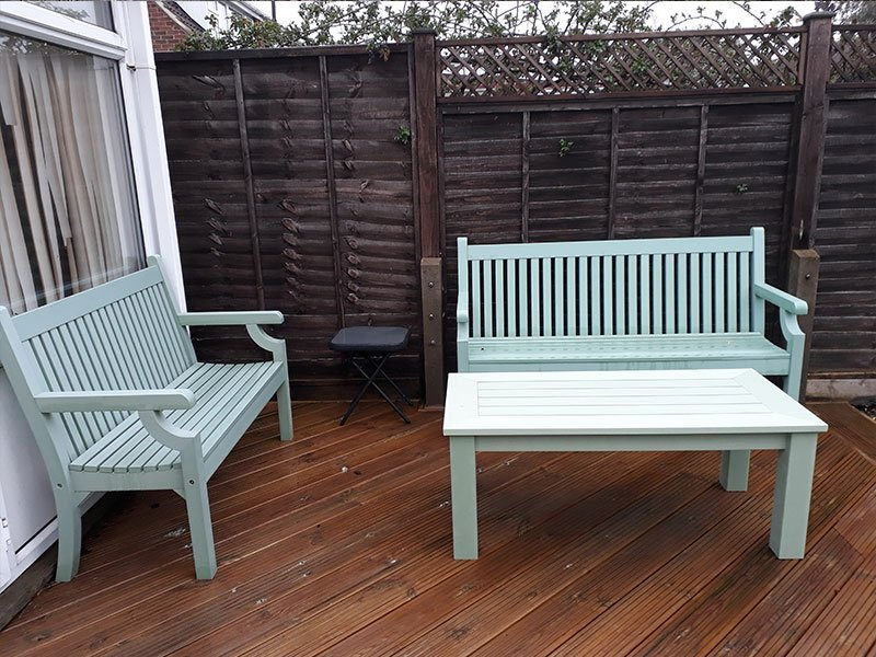 3 Seater Winawood Bench In Duck Egg Free Uk Delivery