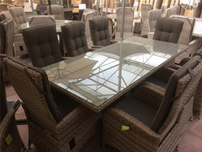8 seater rattan dining set