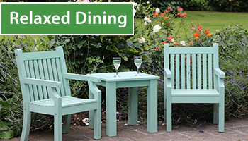 Relaxed dining sets and bistro patio sets.