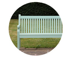 Garden benches and static seating to enjoy next to a pathway or on a paved area of your outdoor space