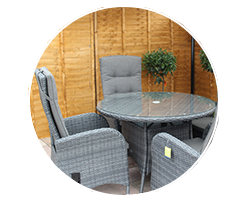 Enjoy outdoor dining sets with rattan and wood effect from Garden Centre Shopping