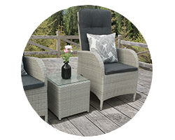 Breakfast on the patio al fresco style with a rattan bistro set from Garden Centre Shopping