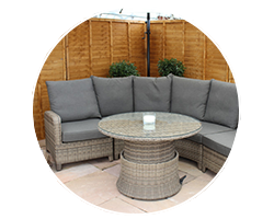 Relax with a garden sofa and lounger set made from weatherproof rattan at Garden Centre Shopping