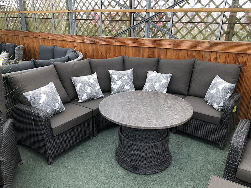 Curved Rattan Corner Sofa Set In Stone Grey Weatherproof